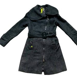 Soia & Kyo black zippered belted jacket size small
